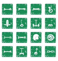 Balancing scooter icons set grunge vector