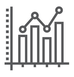 Bar graph line icon growth and chart vector