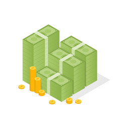 big stacked pile of cash and some gold coins flat vector image