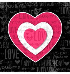 black background with red valentine heart vector image
