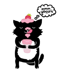 Black cat with yogurt cute cartoon animal vector