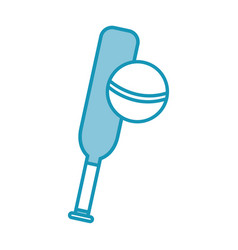 blue cricket ball and bat cartoon vector image
