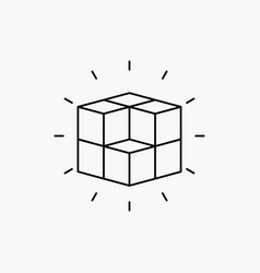Box labyrinth puzzle solution cube line icon vector