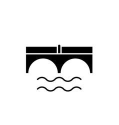 bridge over river black icon sign on vector image