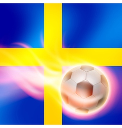 Burning football on Sweden flag background vector image