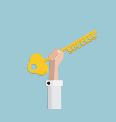 businessman hand holding golden key of success vector image