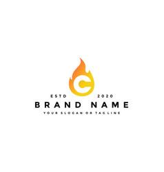 C letter logo fire design vector