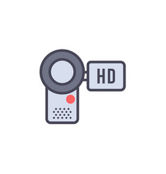 camcorder flat icon sign symbol vector image