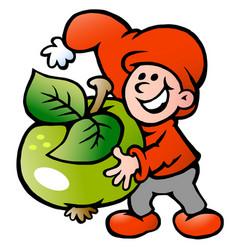Cartoon an happy christmas elf holding a apple vector