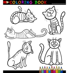 Cartoon cats or kittens for coloring book vector
