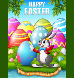 cartoon easter bunny painting easter eggs in the w vector image