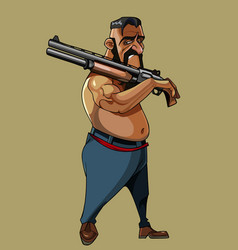 Cartoon man walking with a gun on his shoulder vector