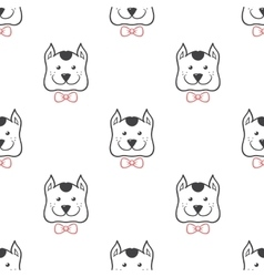 Cartoon style dog in bow tie seamless vector