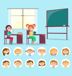 Classroom and classmate lesson and pupil vector