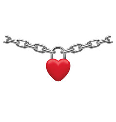 closed heart lock hanging on chain isolated vector image