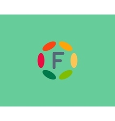 Color letter F logo icon design Hub frame vector