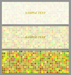 Colored square pattern banner background set vector