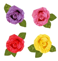 Colourful four roses polygon low vector