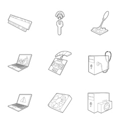 Computer maintenance icons set outline style vector