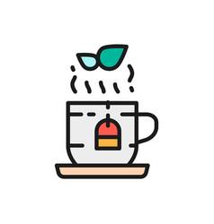 Cup english herbal tea flat color line icon vector