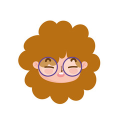 Cute face curly hair girl with glasses facial vector