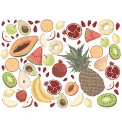Delicious summer food watermelon pineapple vector