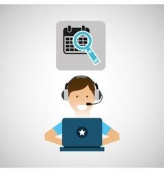 Delivery service concept call center calendar vector