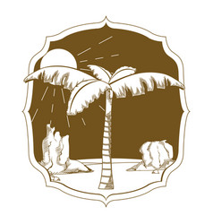 Desert palm on vintage frame vector