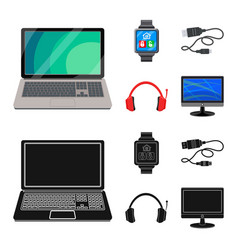 Design of laptop and device symbol set of vector