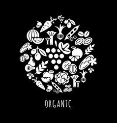 Digital black vegetable icons set vector