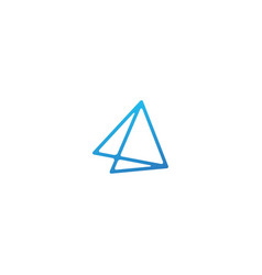 double triangle line art outline logo icon vector image