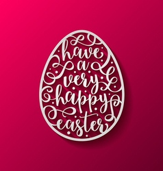 Easter egg with calligraphic lettering greeting vector
