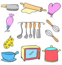 Equipment kitchen set colorful doodles vector