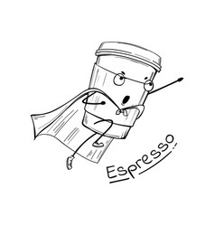 Espresso coffee cup superhero character vector