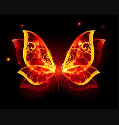 Fire wings of butterfly vector
