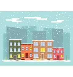 Flat city in winter vector