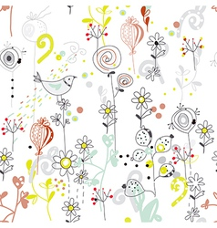 Floral seamless pattern with bird sketch vector image
