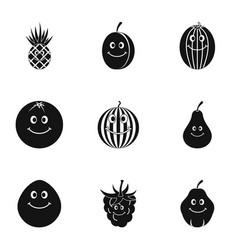 fruit emoji icon set simple style vector image