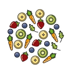 Fruits and vegetables icon vector