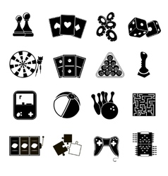 Game icons set black vector image vector image