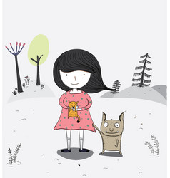 Girl carrying a fox and a strange friend vector