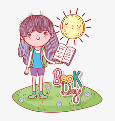 Girl read book with sun to literature day vector