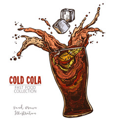 glass with splash cola and ice cubes cold soda vector image