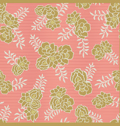 gold floral bouquet on coral stripes seamless vector image