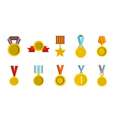 gold medal icon set flat style vector image vector image