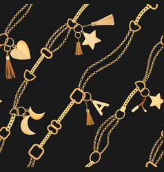 golden chains and charms seamless pattern fashion vector image