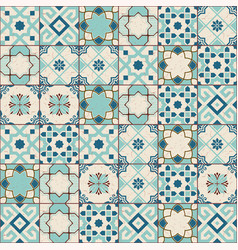 Gorgeous seamless pattern white old green moroccan vector