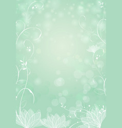 gradient green paper background lotus and plants vector image