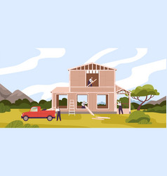 group male constructors building residential vector image
