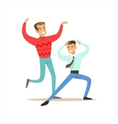 Happy Best Friends Dancing In Night Club Party vector image